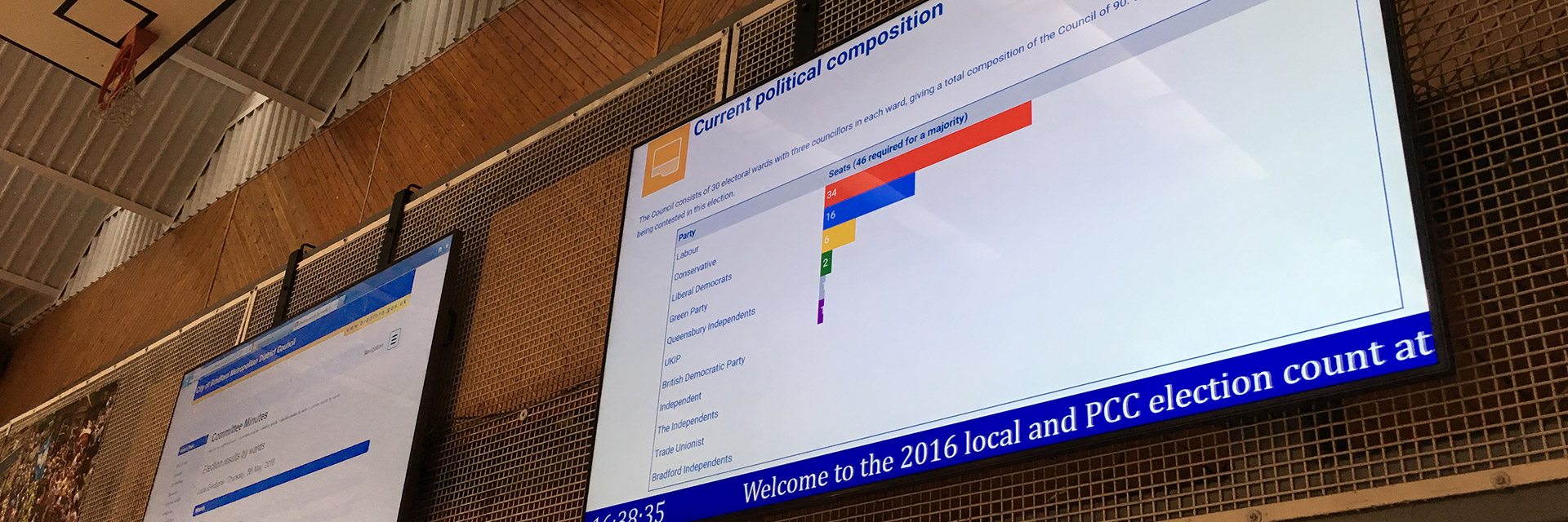 2x 95 Inch Digital Displays for Bradford Council Elections
