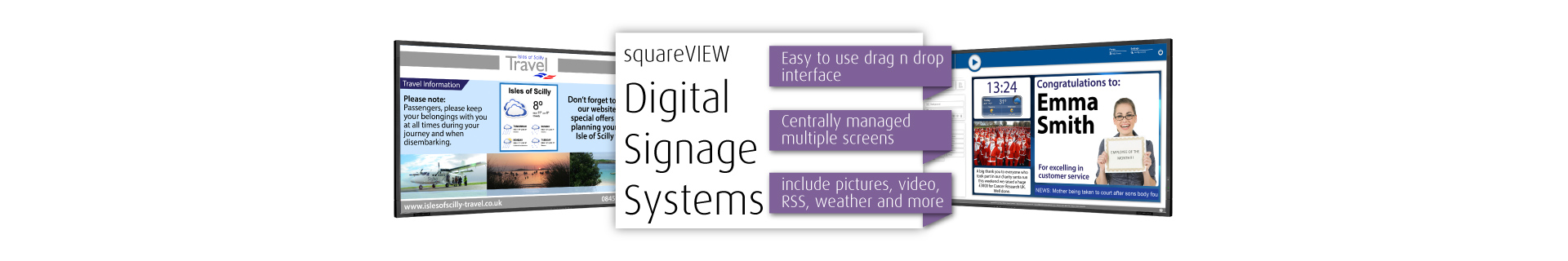 Digital Signage Display Software and hardware screens