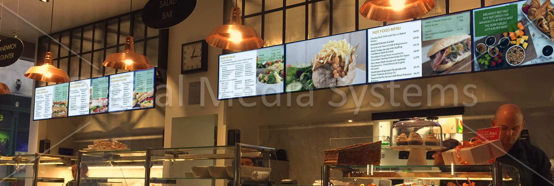 Seven Digital Menu Boards at Phil Potts in Manchester