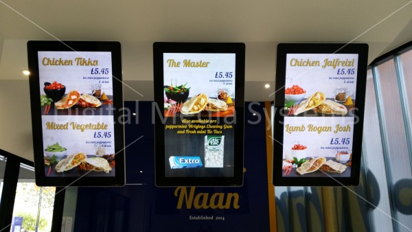 Master Naan – 3 x squareVIEW Digital Menu Boards