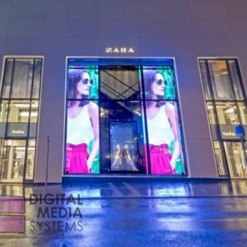 Transparent LED Video Wall Display Installed at Zara