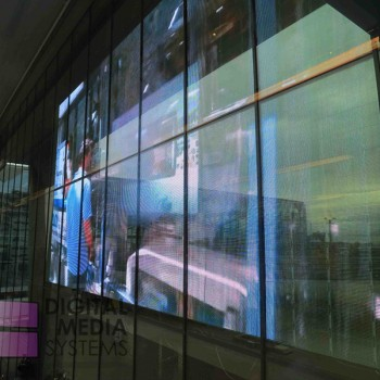 Transparent LED Video wall installed at The New Babylon shopping Centre, The Hague
