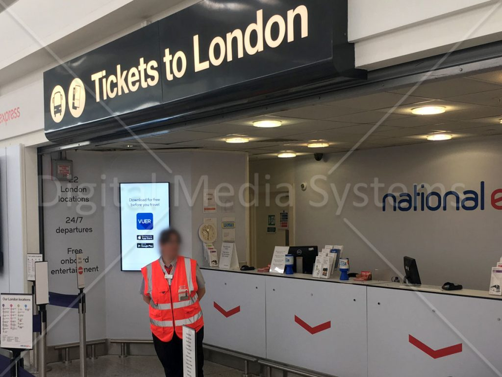 Digital Screens Stansted Airport National Express Ticket office