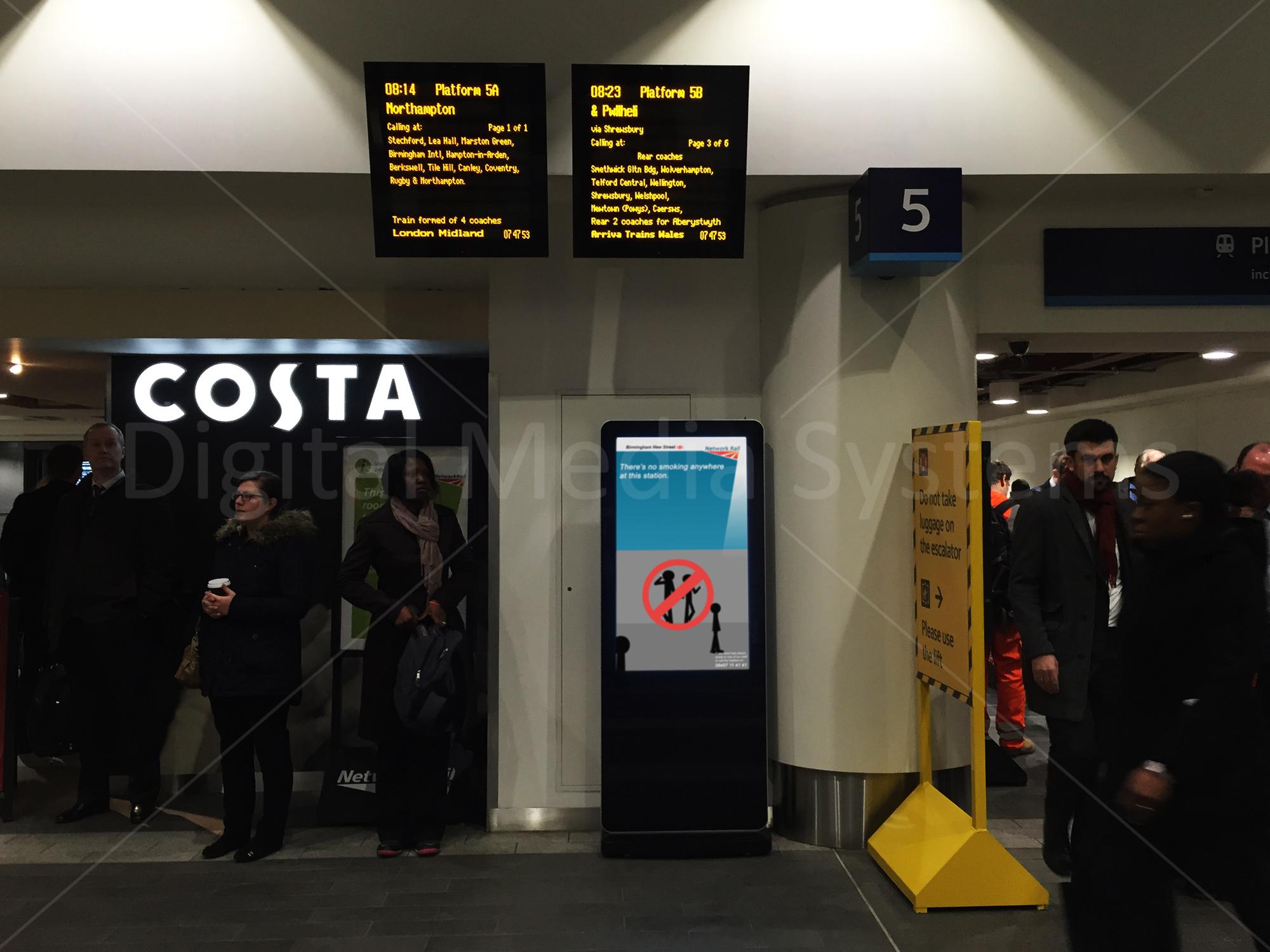 "50"" Digital Notice Board Screen at Birmingham New Street Station"
