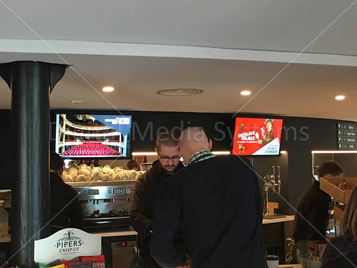 advertising screens at the YTR bar