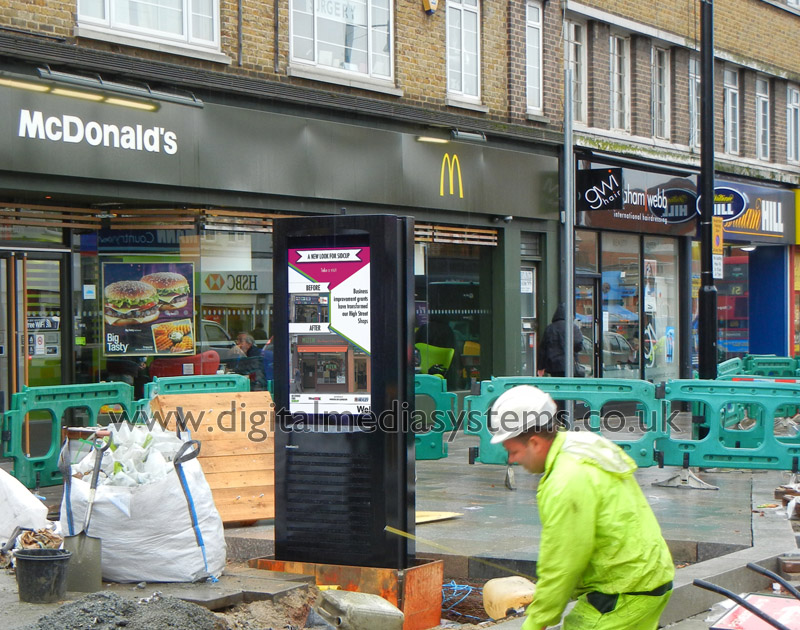 """London Borough of Bexley, Sidcup High Street Outdoor Digital Signage solution with Double sided 47"""" 2,500 nits weatherproof screens."""