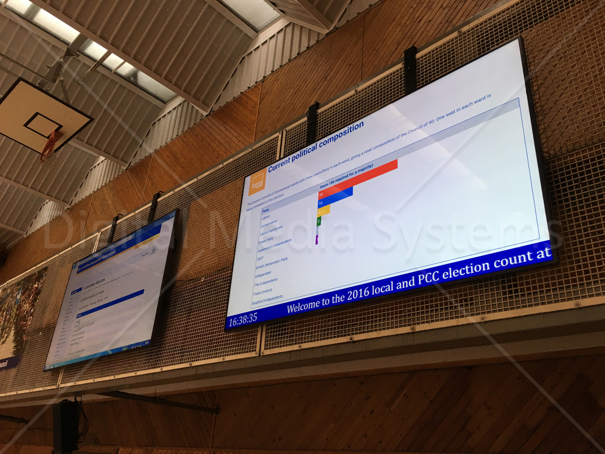 "Two 95"" LED displays for Bradford Council elections."