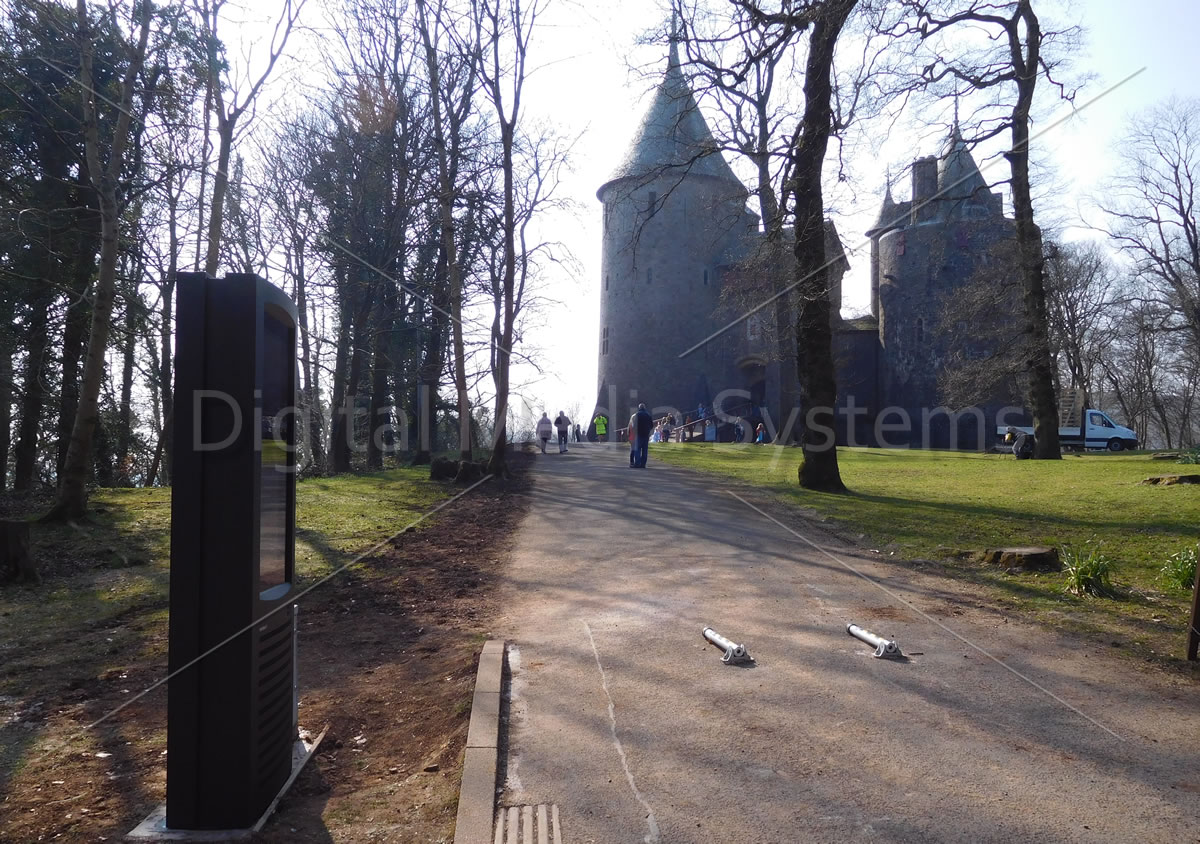 Digital screen for communications showing Castell Coch in the background