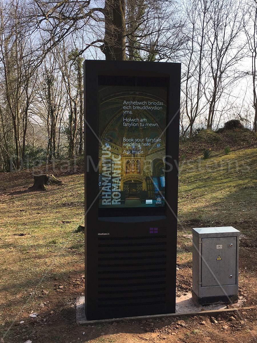 Castell Coch Digital totem for outdoor customer engagement