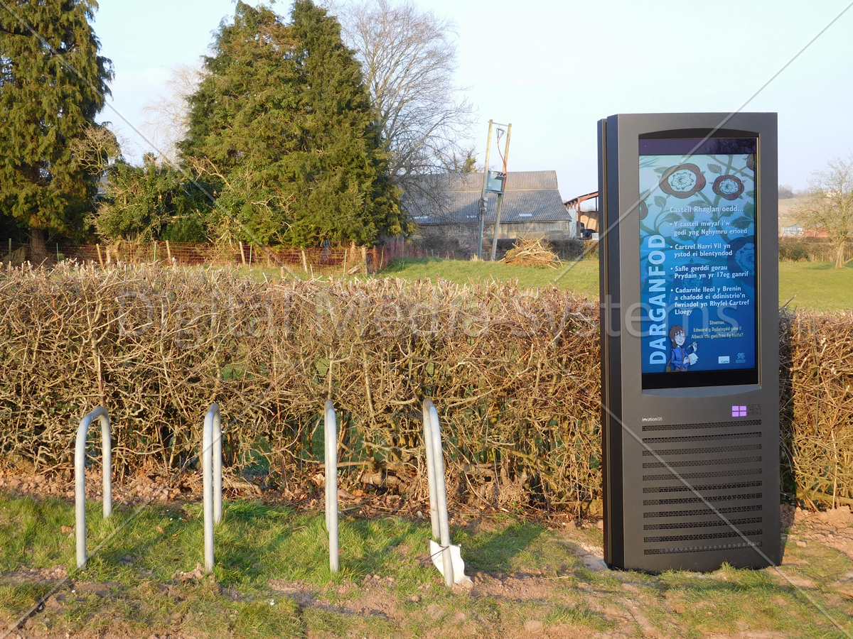 Close up of Raglan Castle Digital Signage Screen for Outdoor Use