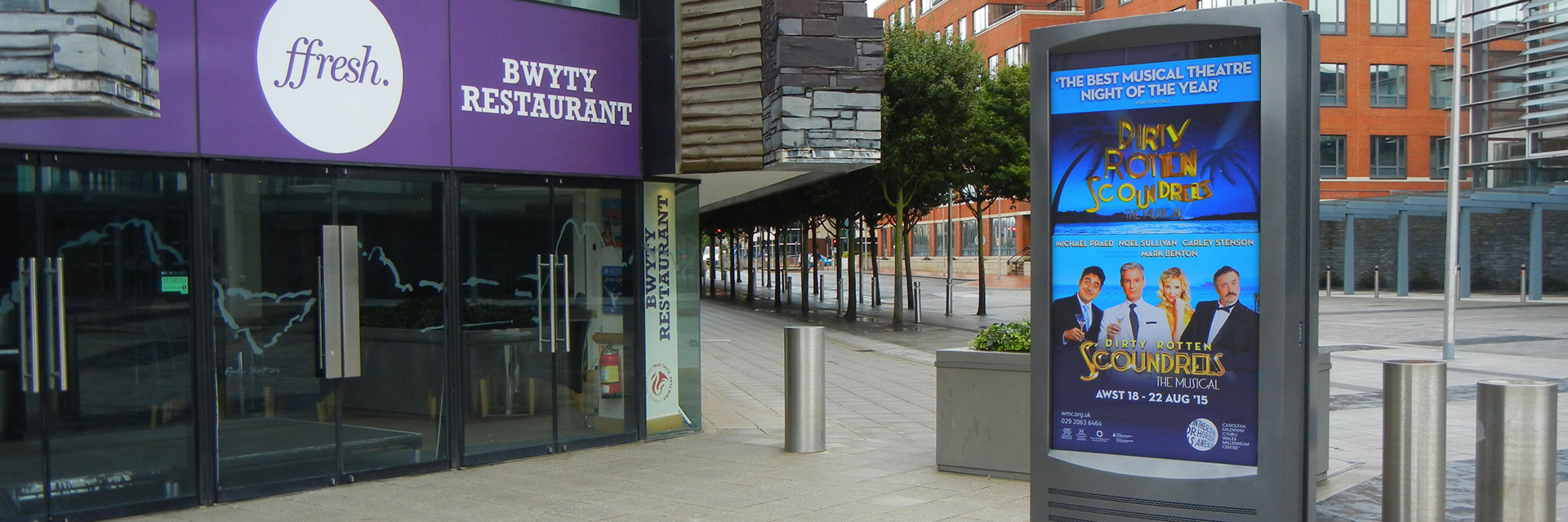 Digital Advertising Screens at Wales Millennium Centre Cardiff