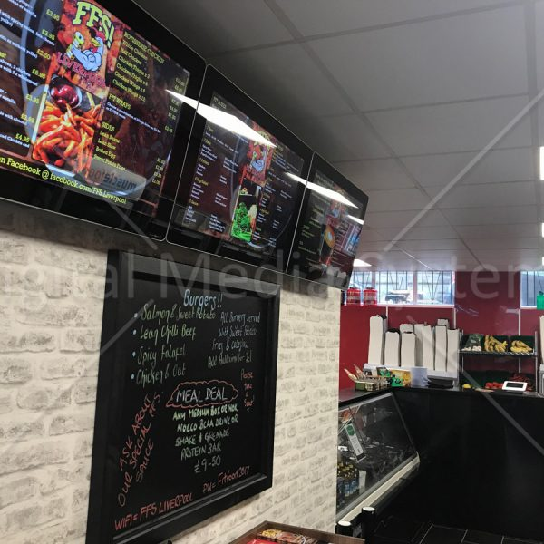 Digital Menu Board for Fit Food Shack Liverpool, 32 inch units with professional content