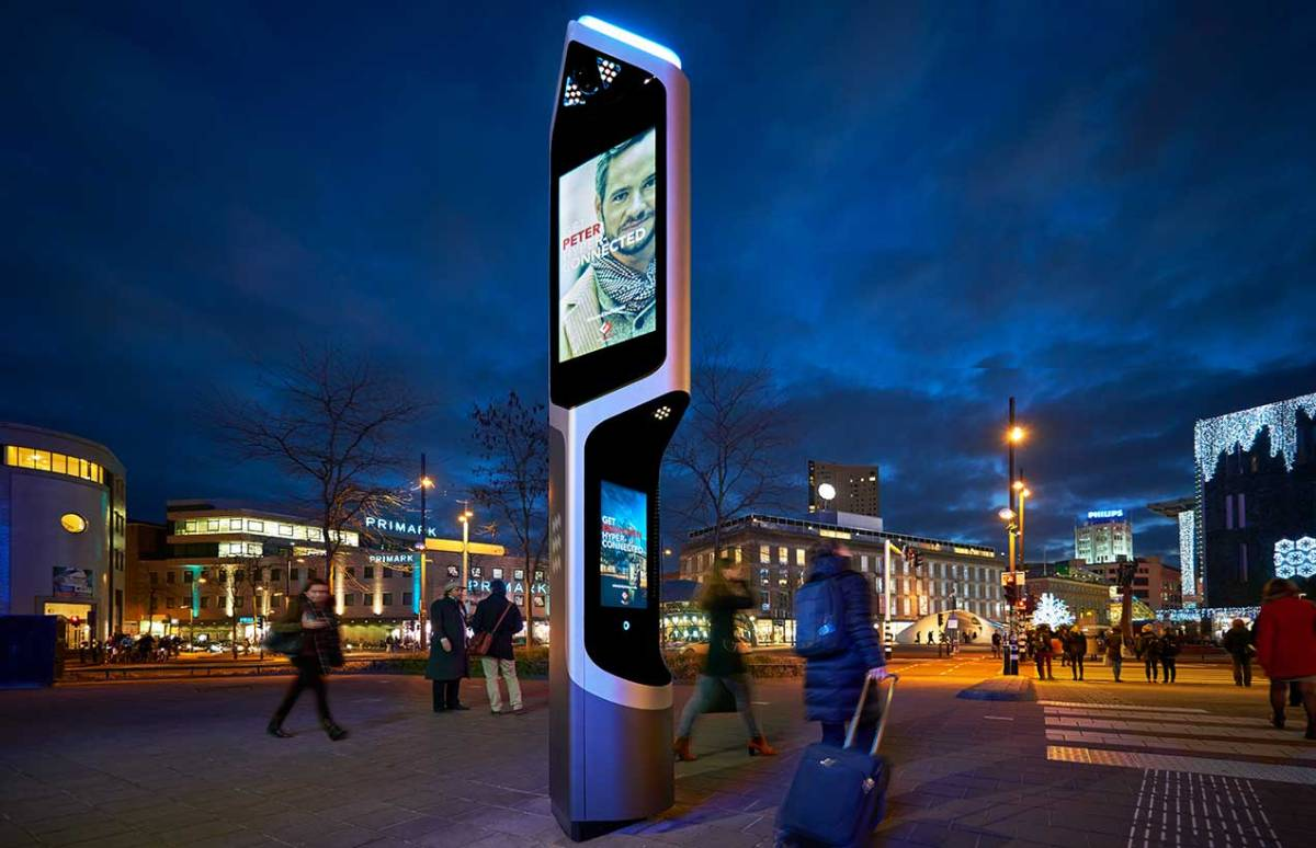 Outdoor advertising display screen in town centre