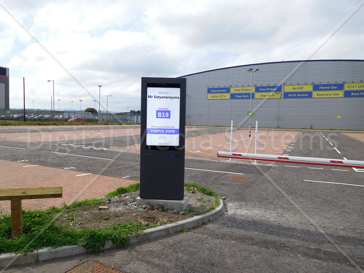 display showing personalised content for Purple parking zone