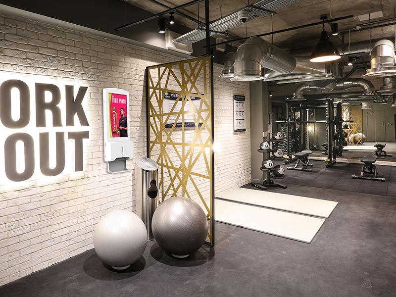 Hand Sanitiser Advertising Display in Gym