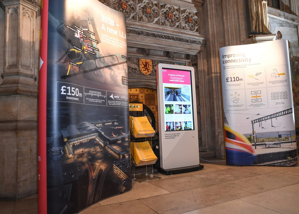 Digital signage for Luton Airport LLA at palace of Westminster
