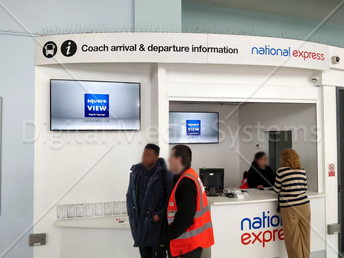 National Express Bristol Coach Station Digital Signage screens