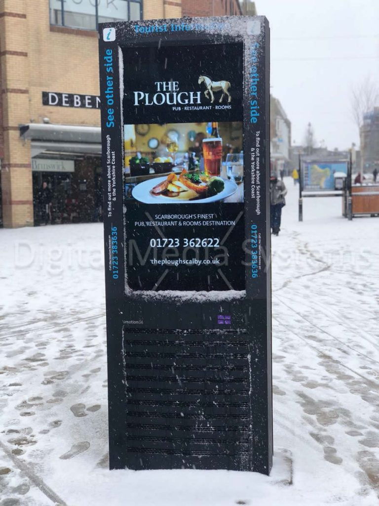 snow covered outdoor digital signage