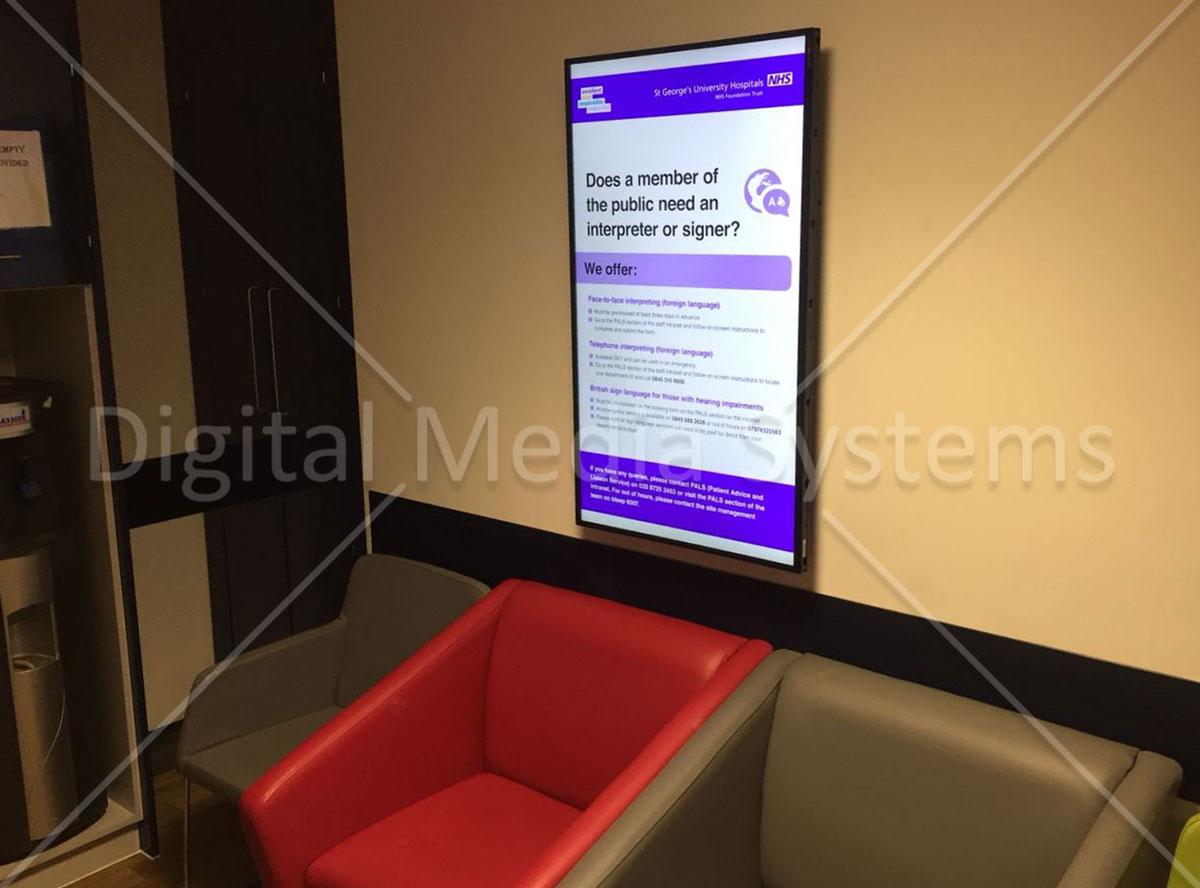 Hospital public messages using Digital Sign