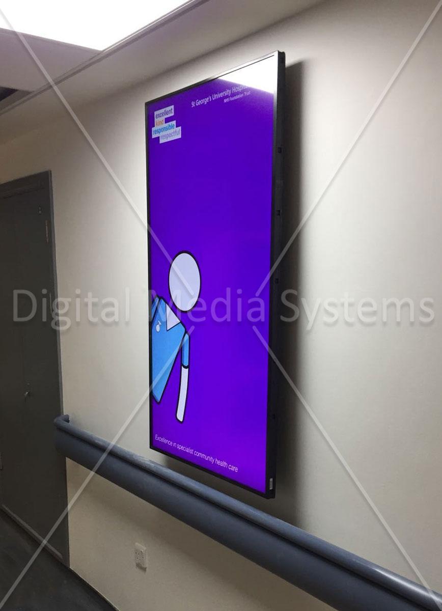 NHS St Georges hospital corridor screen
