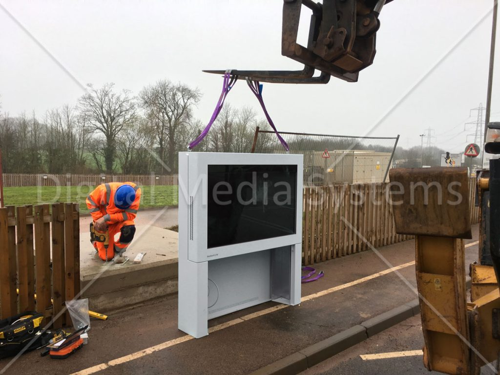 "Installation of 55"" Digital Display Signage Screen"