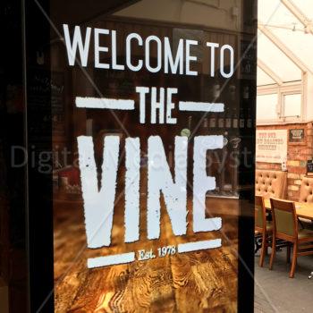 Digital signage installation at the Vine restaurant in West Bromwich