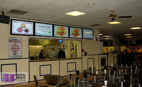Digital Menu Boards – US Air Force base – bowling centre