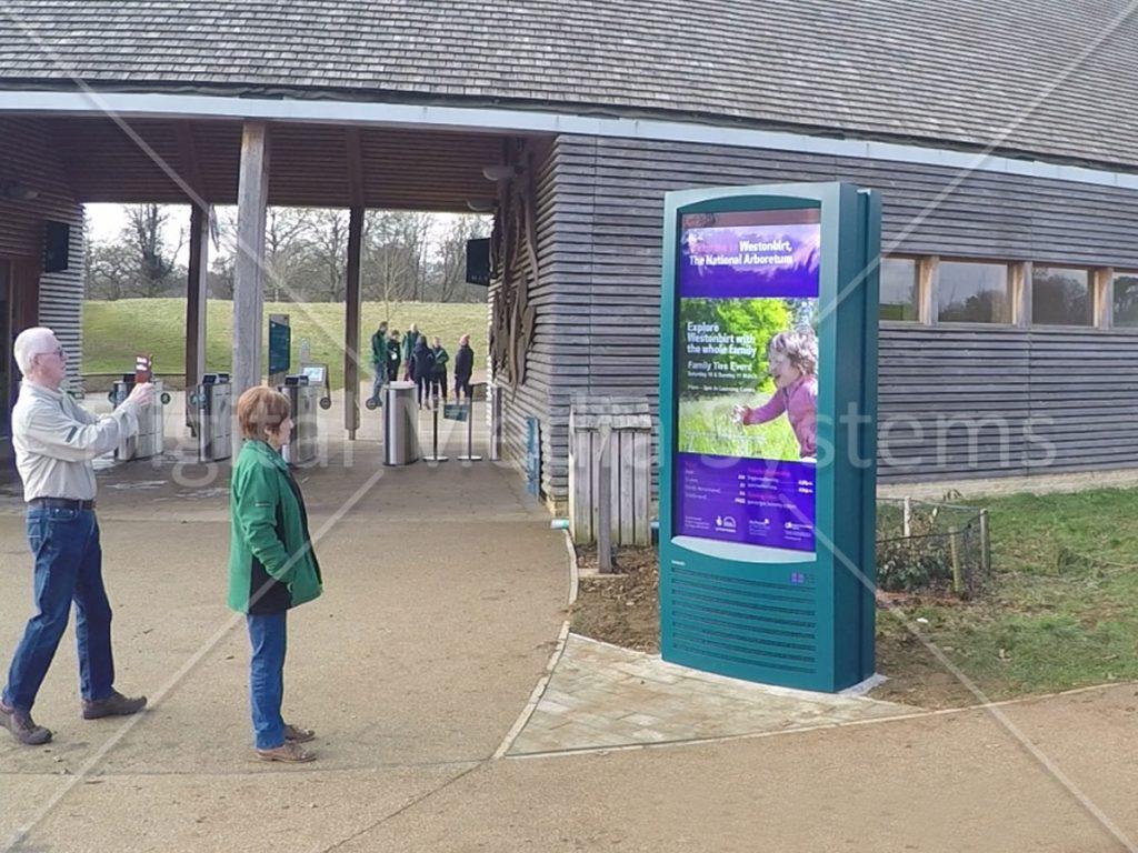Westonbirt WBA outdoor visitor centre screen