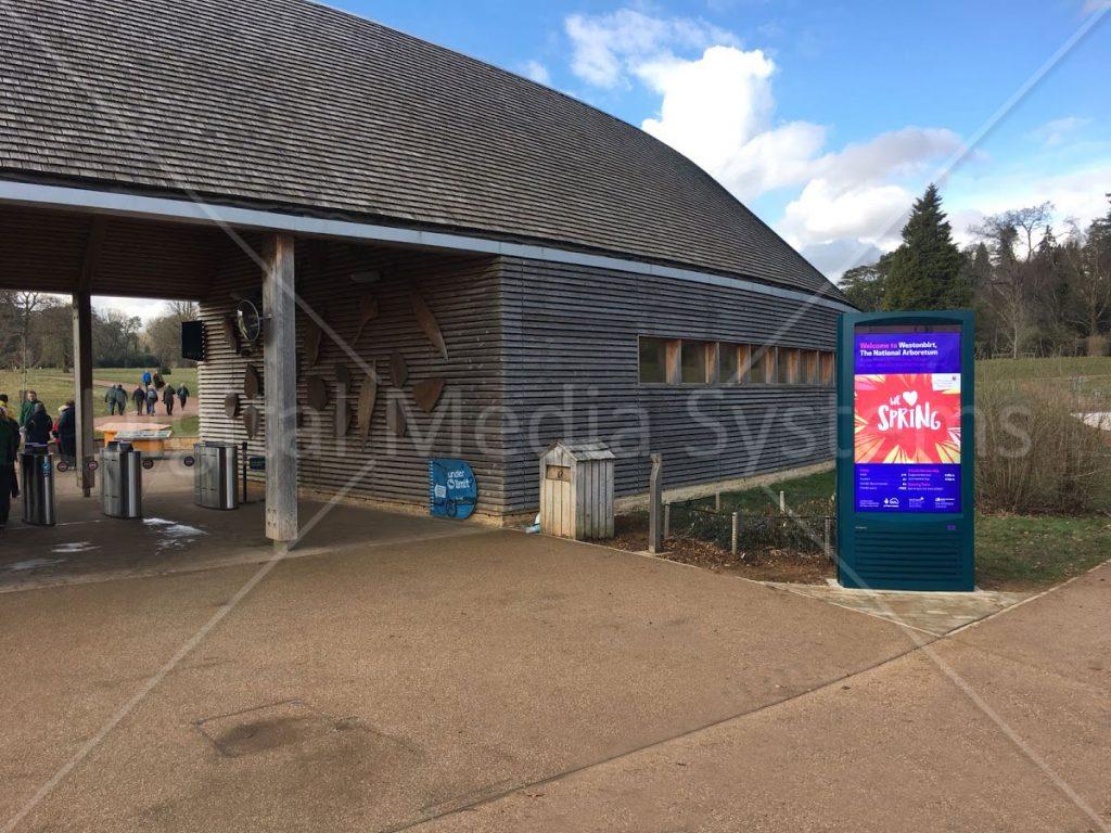 Outdoor Visitor information screen at Westonbirt