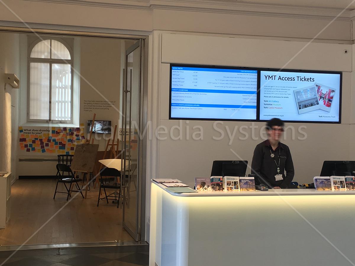 Digital signage display screens at Yorkshire Museum