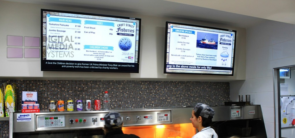"""Croft Street Fisheries upgrade from standalone Digital Menu Boards to squareVIEW Network controlled NEC 46"""" Digital Menu Boards."""
