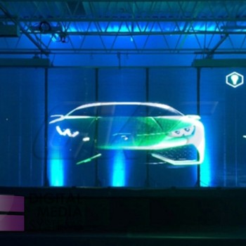 Transparent LED Glass Video Display Installed at Lamborghini